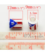 Puerto Rican Flag European Bead Cylindrical Puerto Rico Flag For Charm B... - $16.00