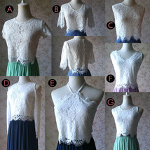 Boho Wedding Bridesmaid Dress Chiffon Maxi Skirt Short Sleeve Crop Lace Top  image 9