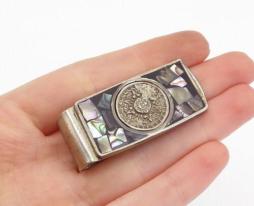MEXICO 925 Silver - Vintage Abalone Shell Mayan Sun Calendar Money Clip - T2499 - $73.87