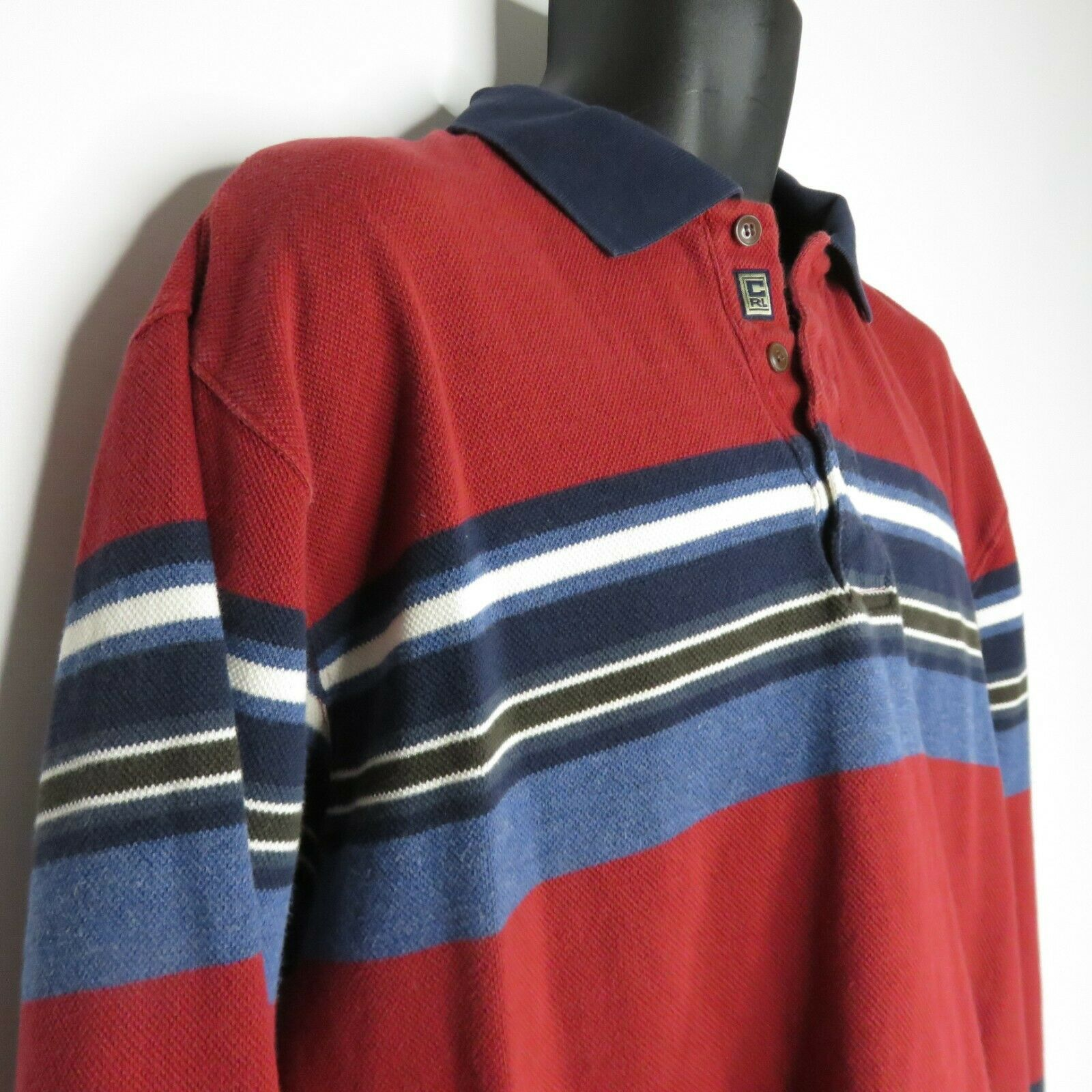 Vintage 90s Chaps Ralph Lauren Red White Blue Striped Rugby Polo Shirt L