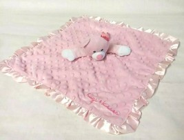 Baby Starters Lovey Blanket Pink Bear 16x16 Hugs Kisses Dot Rattle Satin Trim - $17.79