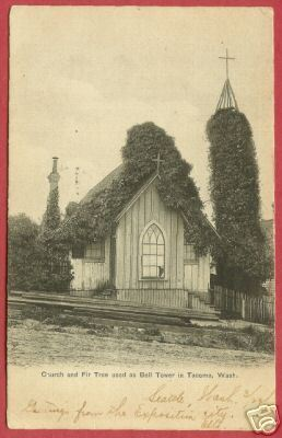 Tacoma Washington Church Bell Tower 1909 Postcard BJs