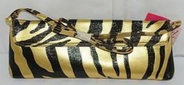 Prezzo Brand Style 3208 Black Gold Zebra Striped Clutch Purse Removable Strap image 2