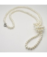 Collar Largo 1 Metro de Oro Blanco 18K Perlas Blancas Freshwater Hecho e... - $562.28