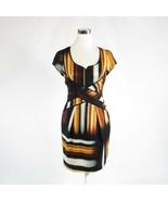 Black orange uneven striped JESSICA SIMPSON cap sleeve sheath dress 13 - $22.49