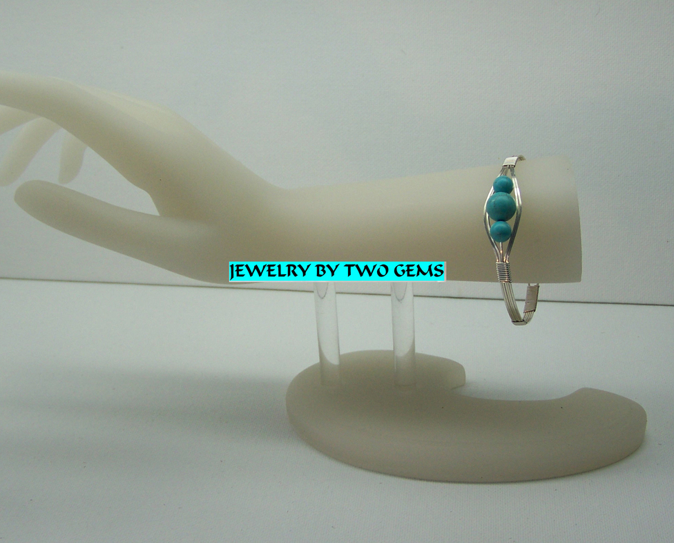 Jewelry By Two Gems (B54) Sterling Silver Bangle w Turquoise Beads