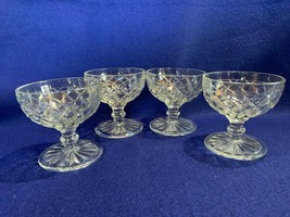 Anchor Hocking Waterford Waffle sherberts, champagne crystal set of 4 ex... - $15.83
