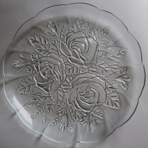 4 Pasari Crystal Livia Clear Glass Dinner Plates Indonesia Rose Frosted ... - $44.54
