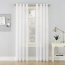 "No. 918 Erica Crushed Sheer Voile Grommet Curtain Panel, 51"" x 63"", White - $14.38"