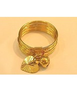 18k gold 7 days ring with bell/ heart ( size 6 ) * - $232.82