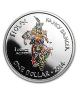 Oglala Sioux Tribe 1 Dollar, 1 oz. Silver Proof Coin, 2014, Fancy Dancer - £54.31 GBP