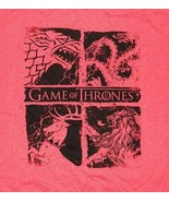 Game of Thrones TV Series Four Houses Logos Heather Red T-Shirt NEW UNWORN - $16.99