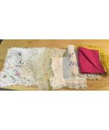 Vtg Ladies Handkerchiefs Plus Old Linens - $5.89