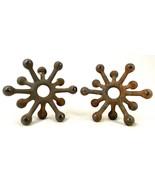 Vintage DANSK Designs Denmark Candleholders Snowflake Starburst Cast Iron x2 - $37.39