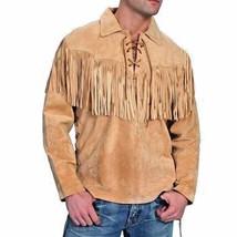 QASTAN Men's Tan Mountain Man Western Suede Cow Leather Fringed Shirt  FJ33 - $98.01
