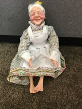 "HTF 12"" Posable realistic old lady doll dress w glasses smiling hair in ... - $49.95"