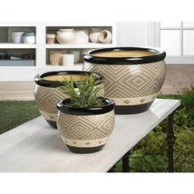 Set of 3 MODERN BLACK TRIM PLANTERS Indoor Outdoor Ceramic Flower Pots - $44.51