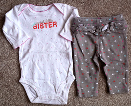 "Girl's Size 0-3 M Months 2 Piece Carter's ""Sweet Little Sister"" L/S Top ... - $11.00"