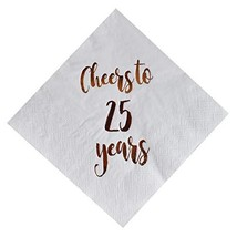 Cheers to 25 Years Cocktail Napkins, 50-Pack 3ply White Rose Gold 25th Birthday  - $19.96