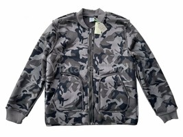 Lucky Brand Mens L Gray/ Black Reversible Camo Military Inspired Bomber ... - $75.99