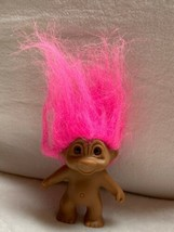 "3.5"" Troll Doll, Crazy Pink Hair/Eyes Toy Figurine Cake Topper Vtg Used - $23.38"