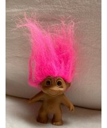 """3.5"""" Troll Doll, Crazy Pink Hair/Eyes Toy Figurine Cake Topper Vtg Used - $23.38"""