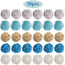 Owill1 30Pcs 2Inch Wicker Rattan Balls Decorative Orbs Vase Fillers ,Mix... - $23.88