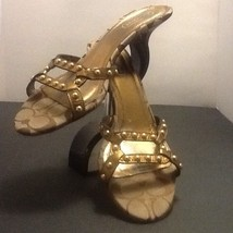 Coach Leather Gold Slides Heel Sandals Size 8.5 - $38.79