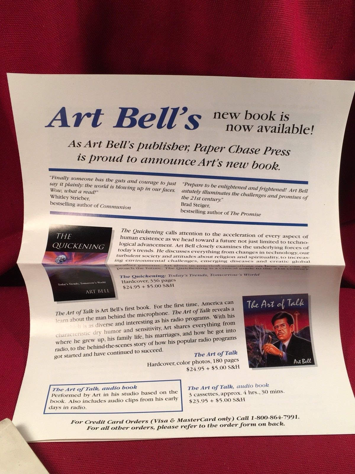 Art Bell THE QUICKENING signed first edn. by The King Of Paranormal Talk Radio