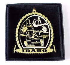 Idaho Brass Ornament State Landmarks Black Leatherette Gift Box - $14.95
