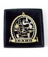 Idaho Brass Ornament State Landmarks Black Leatherette Gift Box - $14.95