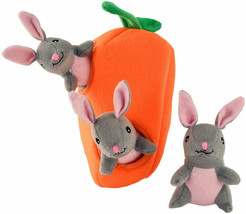Bunnies n Carrot Burrow Plush Puzzle for Dog Toy Squeaky Interactive
