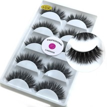 5 Pairs/Box 3D Real Mink False Eyelashes LASGOOS 100% Siberian Mink Fur Luxuriou - $29.45