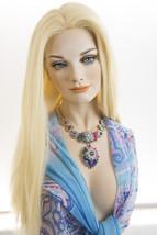 Light Pale Blonde Blonde Long Premium Remy Human Hair Monofilament Straight Wigs - $487.07