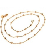 18K ROSE GOLD MINI BALLS CHAIN 2 MM, 18 INCHES SPHERE ALTERNATE OVAL ROL... - $346.00