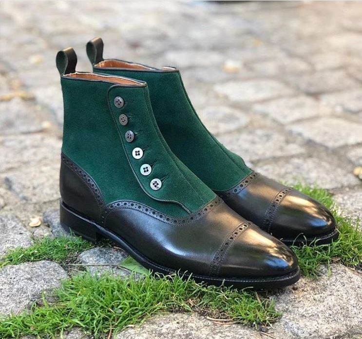 Handmade Men's Green Suede Black Leather High Ankle Two Tone Brogues Buttons