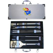 kansas jayhawks 8 pc tailgater stainless steel bbq set with metal case - $126.34