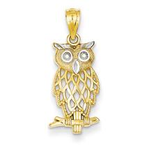 14k Yellow Gold Owl Diamond Cut Charm Pendant 24mmx9mm - $64.40