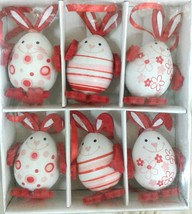 6 pcs Easter Bunny Egg Decorations Ostern Home Decor in Box Happy Easter... - $12.02