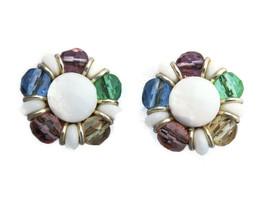 Vintage faceted milk glass beaded clip on earrings - $9.85