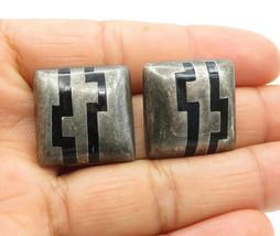 925 Sterling Silver - Vintage Black Onyx Patterned Square Stud Earrings ... - $32.73