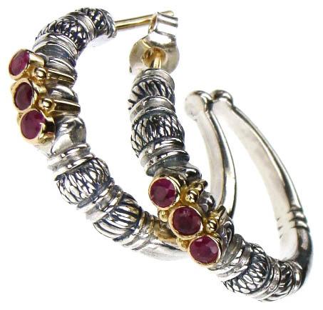 Gerochristo 1012 -  Solid 18K Gold, Silver & Rubies Medieval-Byzantine Earrings
