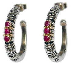 Gerochristo 1012 -  Solid 18K Gold, Silver & Rubies Medieval-Byzantine Earrings image 2