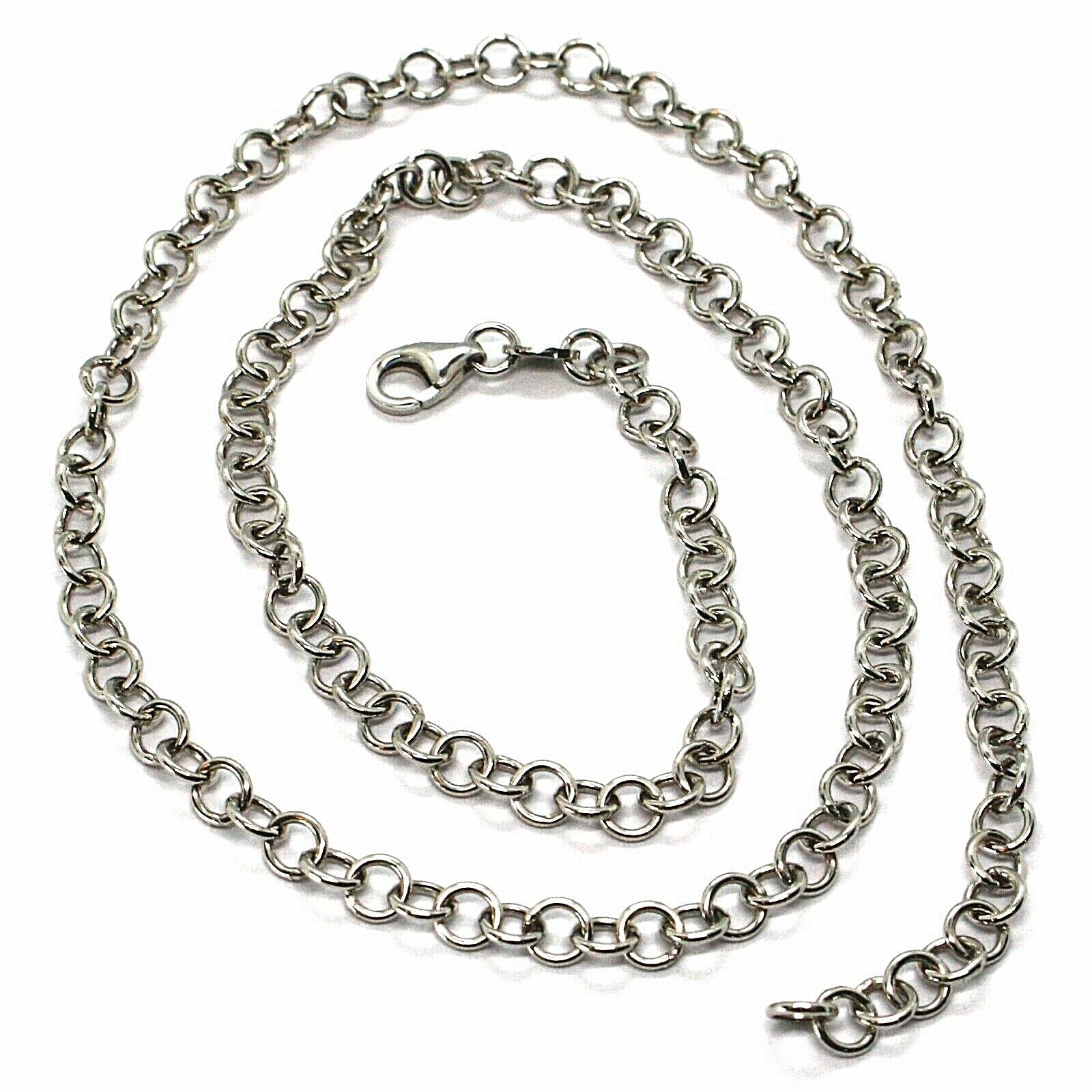 SOLID 18K WHITE GOLD CHAIN 17.70 IN, ROUND CIRCLE ROLO LINK, 4 MM MADE IN ITALY
