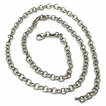 SOLID 18K WHITE GOLD CHAIN 17.70 IN, ROUND CIRCLE ROLO LINK, 4 MM MADE IN ITALY image 1