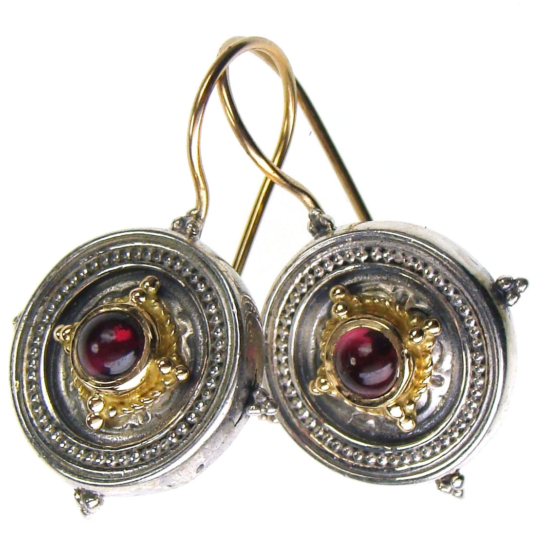Gerochristo 1026 - Solid 18K Gold & Silver Medieval-Byzantine Earrings  image 2