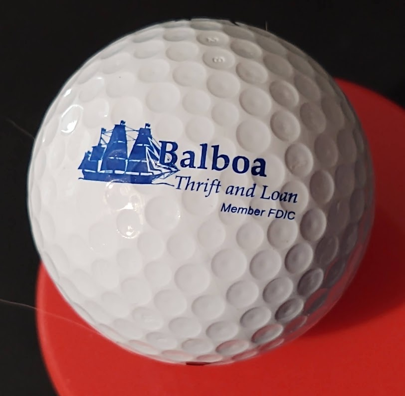 Primary image for Balboa Thrift & Loan Logo Golf Ball Nike Vintage Advertising Premium Preowned