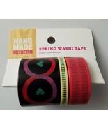 Hand Made Modern Spring Washi Tape 3 Rolls Hearts 7 yards Each - $5.93