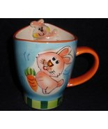 Easter Bunny Rabbit Blue Orange Mug Collector Gift  - $10.00