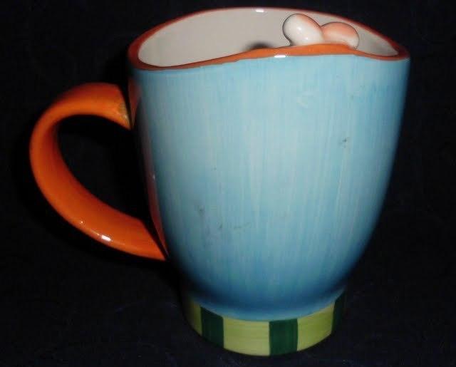 Easter Bunny Rabbit Blue Orange Mug Collector Gift